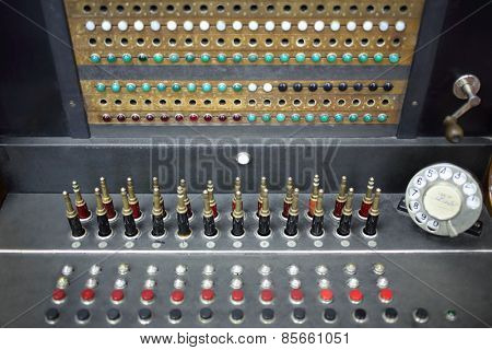MOSCOW - APR 05, 2014: Old telephone switchboard with rotary dial in the Museum of the History telephone in Moscow