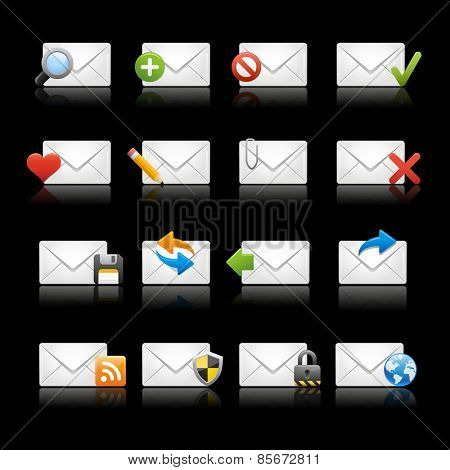 e-mail Icons - Set 1 // Black Background -- EPS 10 -Background color and shadows are editable and can be easily changed.