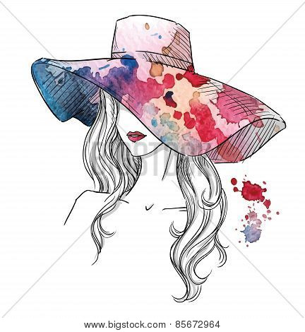Sketch of a girl in a hat. Fashion illustration. Hand drawn