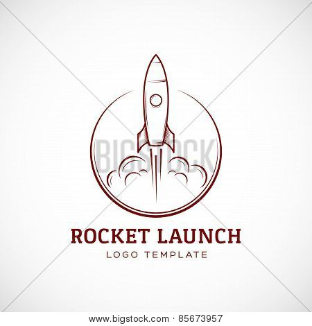 Startup Rocket Space Ship Abstract Vector Logo Template or Label, Badge. Isolated Illustration.
