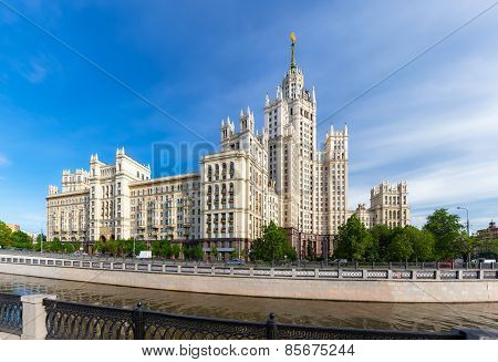 Kotelnicheskaya Embankment Building near Yauza river in Moscow Russia poster