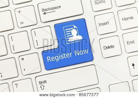 White Conceptual Keyboard - Register Now (blue Key)