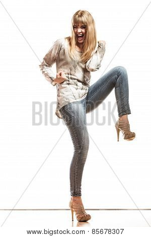 Blonde Fashion Woman Celebrating Success