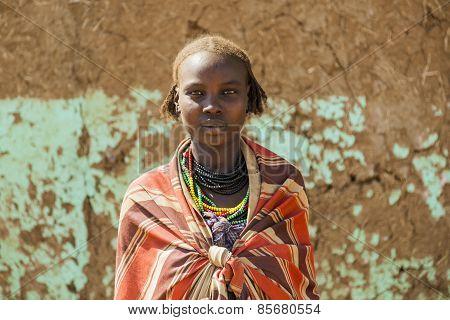 Portrait Of Dassanech Girl. Omorato, Ethiopia.