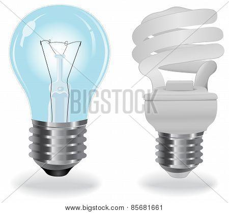Two, type, light, bulbs