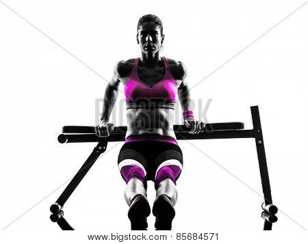 one caucasian woman exercising  fitness bench press  push-ups  in studio silhouette isolated on white background