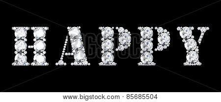 Diamond Words Happy On Black Background (high Resolution 3D Image)