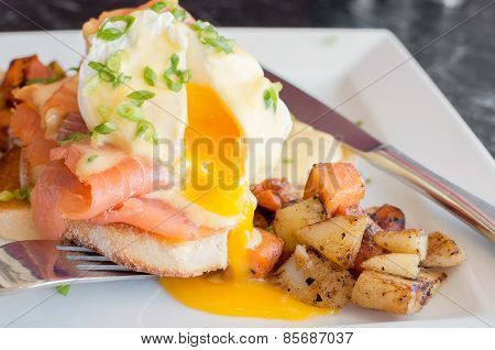 Close up of delicious eggs benedict with runny yellow yolk