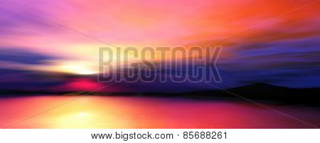 D illustration of twilight landscape