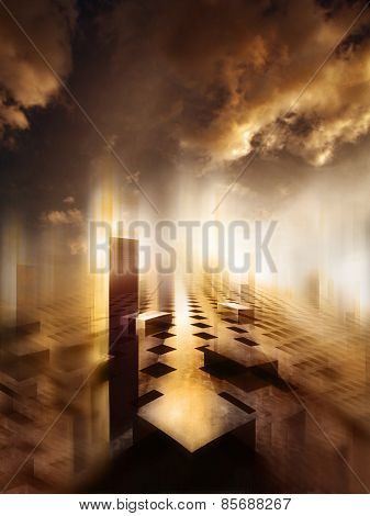 3d illustration of surreal cityscape where the building are in shapes of cubes with very dense clouds in the sky and very bright poster