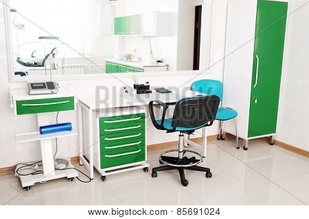 Desk doctor in dental clinic