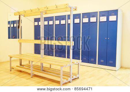 Interior is modern locker rooms