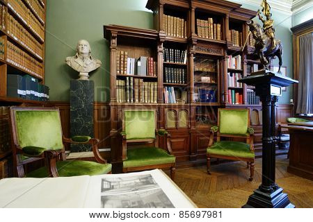 PARIS, FRANCE - SEPTEMBER 14, 2013: Interior of a historical room in the Sorbonne. Found in XIII century as the college, now the Sorbonne University teach more than 50,000 students