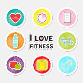 I love fitness round icon set isolated Timer whater dumbbell apple jumping rope scale note heart Flat design Vector illustration poster