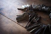 Many old keys placed on a well used old wooden desk with incoming light. Security and encryption, concept image. poster