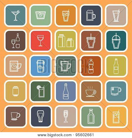 Drink Line Flat Icons On Orange Background