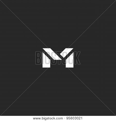Letter M Logo For Business Card, Black And White Graphic Of Geometric Shapes