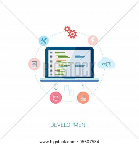 Application software developer and cloud database or server migration flat icon illustration