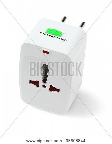 Portable Universal Traveler Adapter on White Background