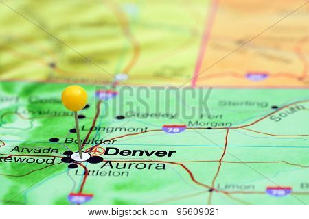 Denver pinned on a map of USA