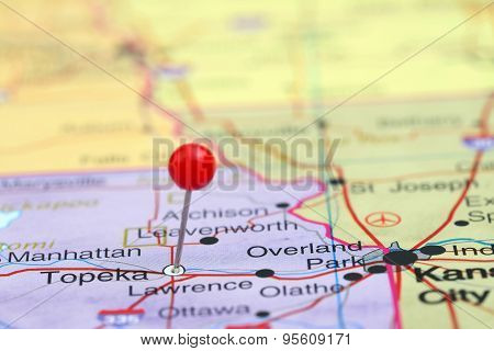 Topeka pinned on a map of USA