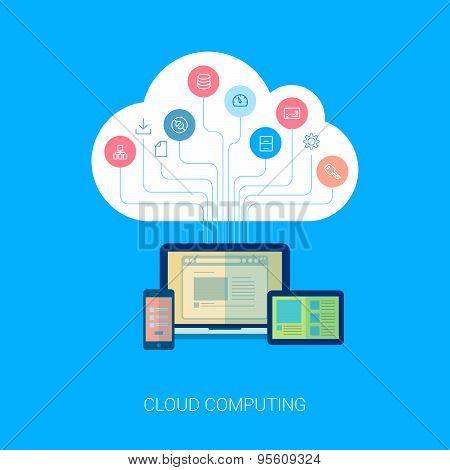 Saas cloud network and device analytics flat icon illustation