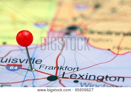 Frankfort pinned on a map of USA