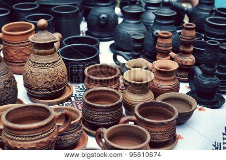 Lots of handmade clay pots