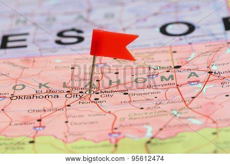 Oklahoma City pinned on a map of USA