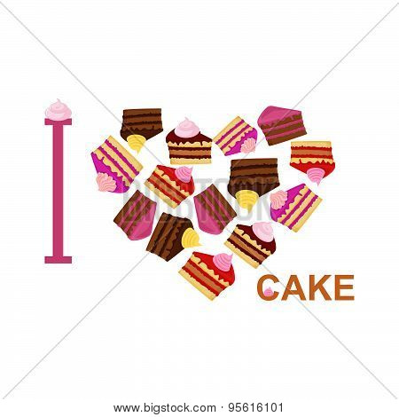 I love cake. Symbol heart of  pieces of cake. Vector illustration for  sweet tooth.