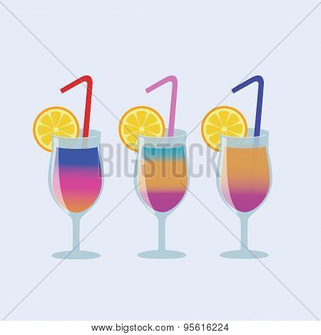 Vector illustration Set of coctail drink with straw