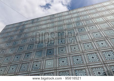 Facade Of Arab World Institute (institut Du Monde Arabe) In Paris