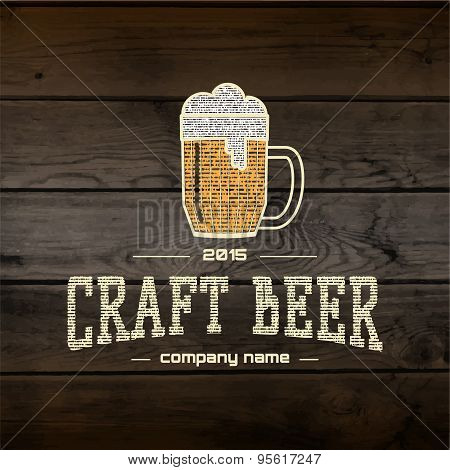 Craft beer badges logos and labels for any use, logo templates and design elements for beer house, bar, pub, brewing company, brewery, tavern, restaurant, on wooden background texture poster