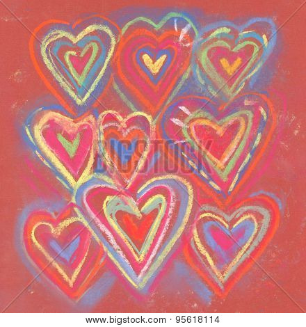 Crayon Color Grunge Abstract Valentine Hearts