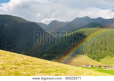 Landscape With Rainbow From The Dolomites