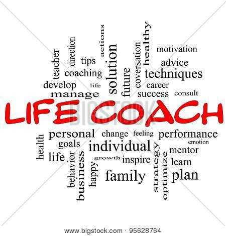 Life Coach Word Cloud Concept In Red Caps