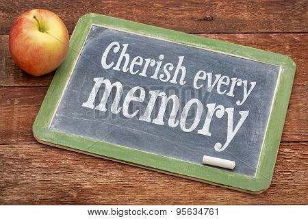 Cherish every memory  - inspirational words  on a slate blackboard against red barn wood