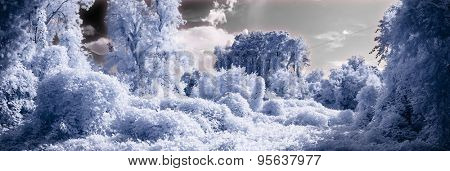 Surreal color infrared landscape, wide panoramic shot