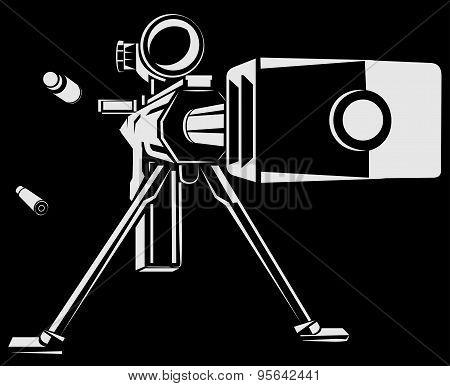 Vector illustration with directional sniper gun