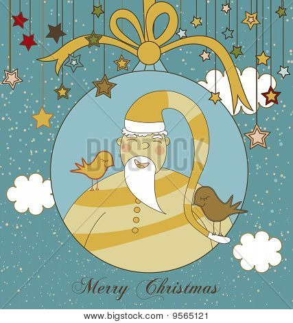 A Christmas Greeting with Santa in a Christmas Ornament