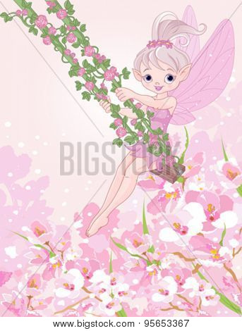 Illustration of pixie fairy on a swing