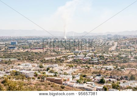 Hazy View Of Windhoek From The South