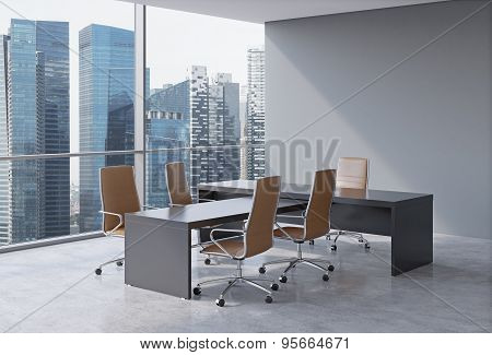 Modern Office Interior With Huge Windows And Skyscraper Panoramic View. Brown Leather On The Chairs