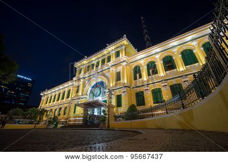 Saigon, Vietnam - May 26, 2015: Night View Of Saigon Central Post Office At Ho Chi Minh City, Viet N