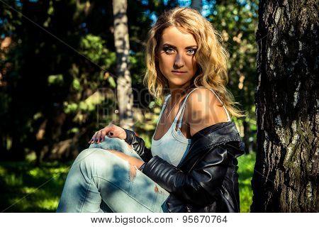 Fashion Girl Posing With Leather Jacket