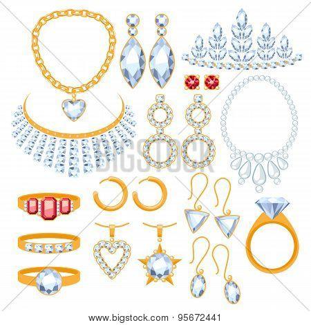 Set of jewelry items.