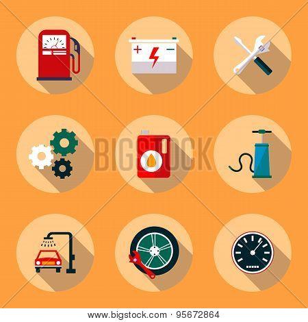 Car service flat icon set. Vehicle maintenance and repair