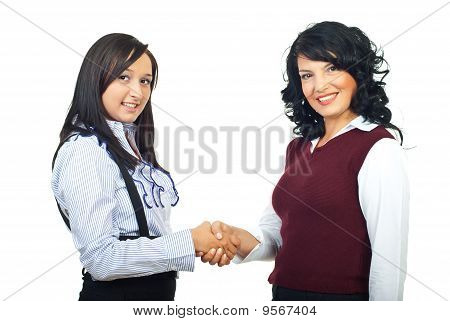 Two Executives Women Shaking Hands