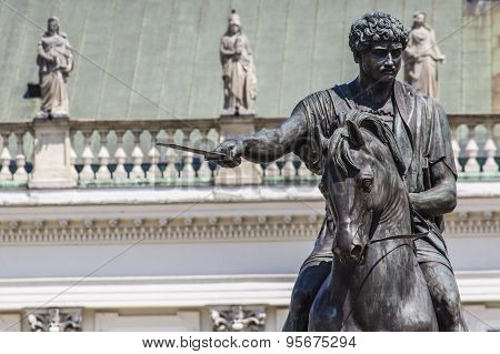 Presidential Palace in Warsaw Poland. Before it: Bertel Thorvaldsen's equestrian statue of Prince Jozef Poniatowski. poster
