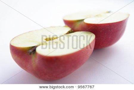 An apple cut in half